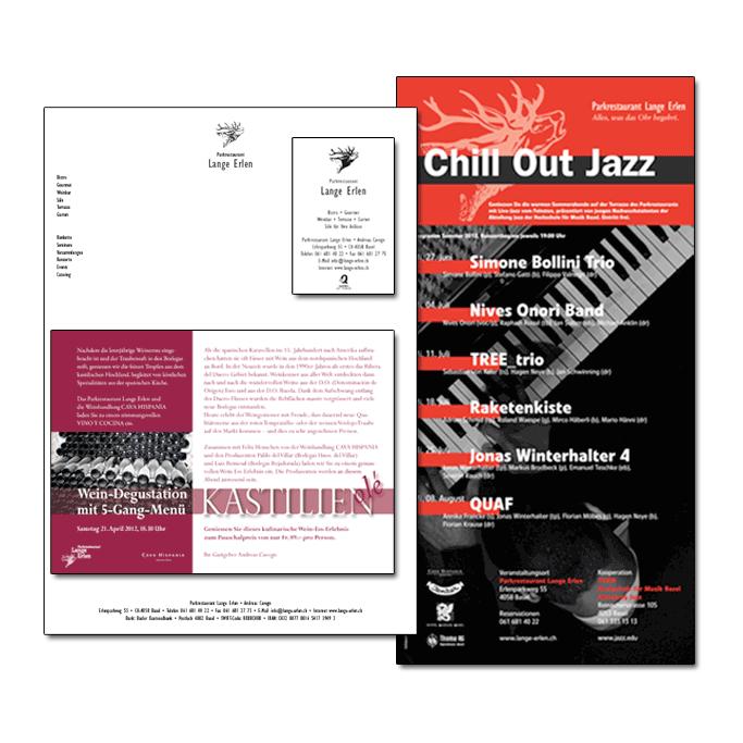 Flyer und Briefschaften des Restaurants