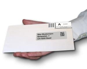 Personalisierte Mailings inkl. Datamatrix-codes der Schweizer Post werden automatisch erstellt.